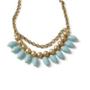 Lia Sophia Cabana Statement Necklace Gold/Aqua NEW